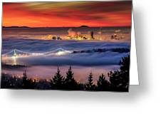 Fog Inversion Over Vancouver Greeting Card by Alexis Birkill