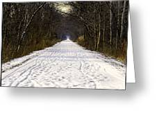 Fog On The Winter Macomb Orchard Trail Greeting Card