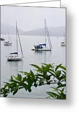 Fog Over Marina 2 Greeting Card