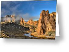 Fog Over Smith Rock Greeting Card