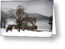 Fog Over Willlow Farm Greeting Card