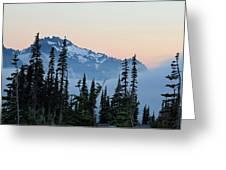 Mt. Rainier's Foggy Sunset Greeting Card