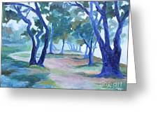 Fog Under The Oaks Greeting Card