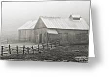 Foggy Barn Greeting Card