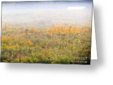 Foggy Country Autumn Morning Greeting Card
