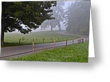 Foggy Country Lane Greeting Card