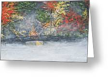 Foggy Fall Lake Greeting Card