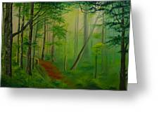 Foggy Forest Path Greeting Card