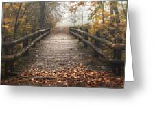 Foggy Lake Park Footbridge Greeting Card by Scott Norris