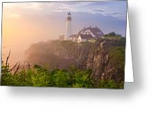 Foggy Morning At Portland Head Light Greeting Card by Benjamin Williamson