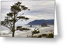 Foggy Morning At Tolovana Beach Oregon Greeting Card