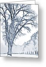 Foggy Morning Landscape - Fractalius 2 Greeting Card