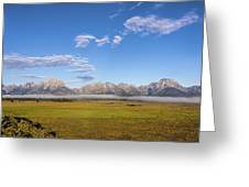 Foggy Sunrise On The Tetons - Grand Teton National Park Wyoming Greeting Card