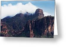 Foggy Superstition Mountains   Greeting Card