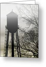 Foggy Tower Silhouette Greeting Card