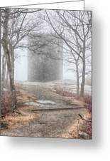 Foggy View Of The Summit Of Mount Battie Greeting Card