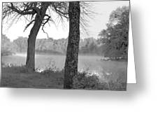 Foggy Waters Bw Greeting Card