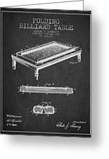 Folding Billiard Table Patent From 1887 - Charcoal Greeting Card