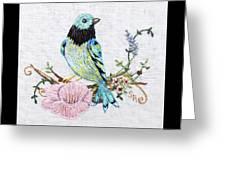 Folk Art Bird Embroidery Illustration Greeting Card