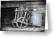 Folk Art Cart Still Life Greeting Card by Tom Mc Nemar