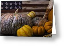 Folk Art Flag And Pumpkins Greeting Card