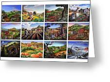 Folk Art Seasonal Seasons Sampler Greetings Rural Country Farm Collection Farms Landscape Scene Greeting Card
