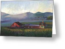 Folk School Barn At Dawn Greeting Card by William Killen