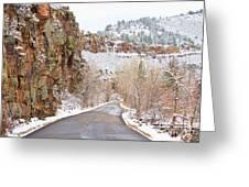 Follow The Red Rock Ridge Winter Road  Greeting Card