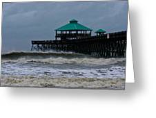 Folly Beach Pier During Sandy Greeting Card