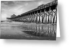 Folly Beach Pier In Black And White Greeting Card