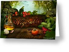 Food Design - Fresh Vegetables In Celery Forest Greeting Card by Mythja  Photography