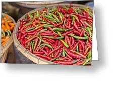 Food Market With Fresh Chili Peppers Greeting Card