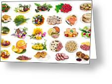 Food On Plates Set Greeting Card