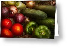 Food - Vegetables - Onions Tomatoes Peppers And Cucumbers Greeting Card