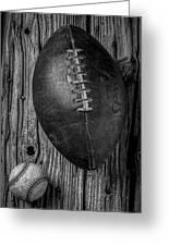 Football And Baseball Greeting Card