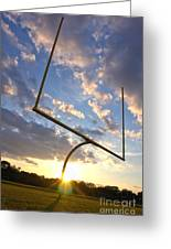 Football Goal At Sunset Greeting Card