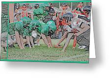 Football Playing Hard 3 Panel Composite Digital Art 01 Greeting Card