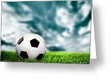Football Soccer A Leather Ball On Grass Greeting Card