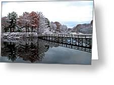 Footbridge At Dawn Greeting Card