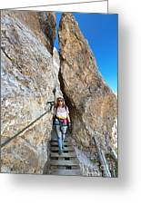 Footbridge On Via Ferrata Greeting Card