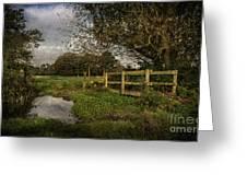 Footpath Bridge At Tidmarsh Berkshire Greeting Card