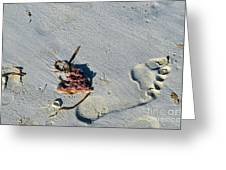 Footprint In The Sand Greeting Card