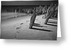 Footprints In The Sand Among The Pilings Greeting Card