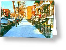 Footprints In The Snow Montreal Winter Street Scene Paintings Verdun Christmas  Memories  Greeting Card