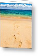 Footprints Leading To Paradise Greeting Card