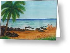 Footprints On Los Pinones Beach Pr Greeting Card