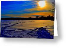 Footsteps On Lake Greeting Card