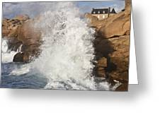 Force Of Breaking Waves Greeting Card