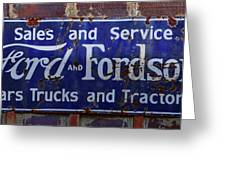 Ford And Fordson Sign Greeting Card