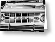Ford Bronco Grille Emblem -0014bw Greeting Card